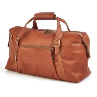 Claire Chase Leather Luggage La Grange 510 Brown Duffle Bag Travel Carry-on Weekend Front View
